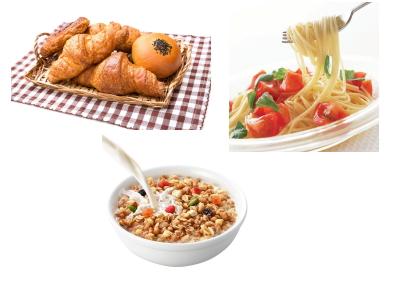パン、スパゲッティ、シリアル