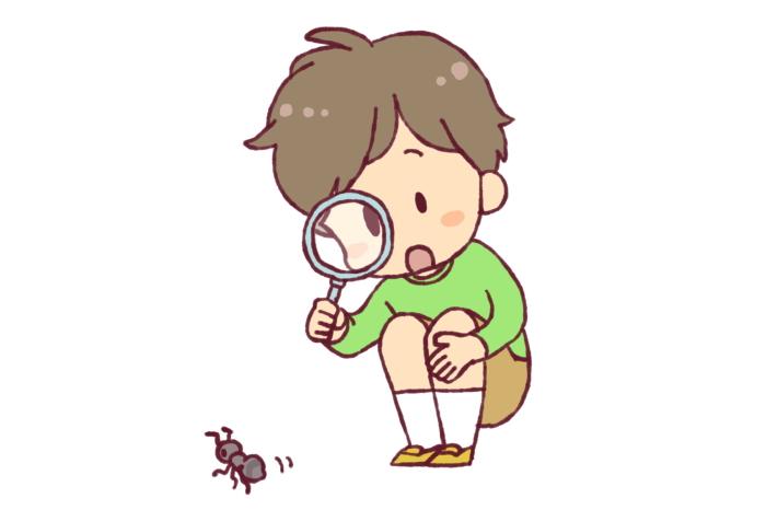虫に好奇心を持つ子供
