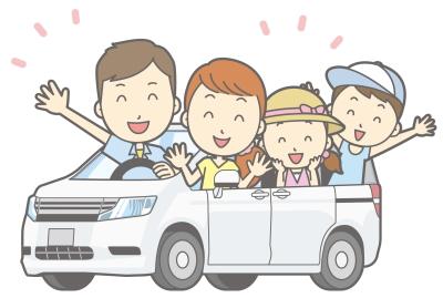車で紅葉を見に行く家族
