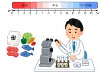 食品のアルカリ性、酸性を調べている