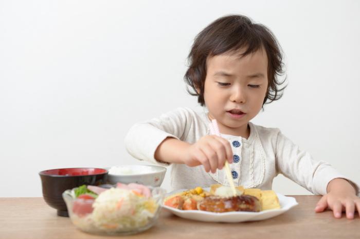 お箸を器用に使う子供