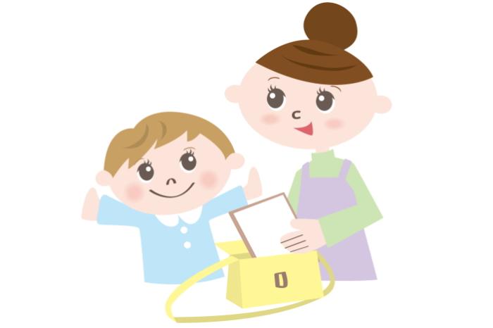 提出物を確認する親子