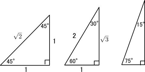 90度、45度、45度の直角三角形、90度、60度、30度の直角三角形、90度、75度、15度の直角三角形