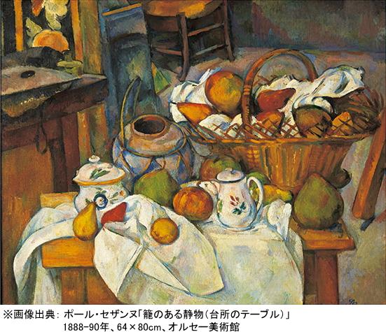 ポール・セザンヌ「籠のある静物(台所のテーブル)」1888-90年、64×80cm、オルセー美術館
